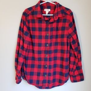 Red and Navy Checkered Button Down Shirt